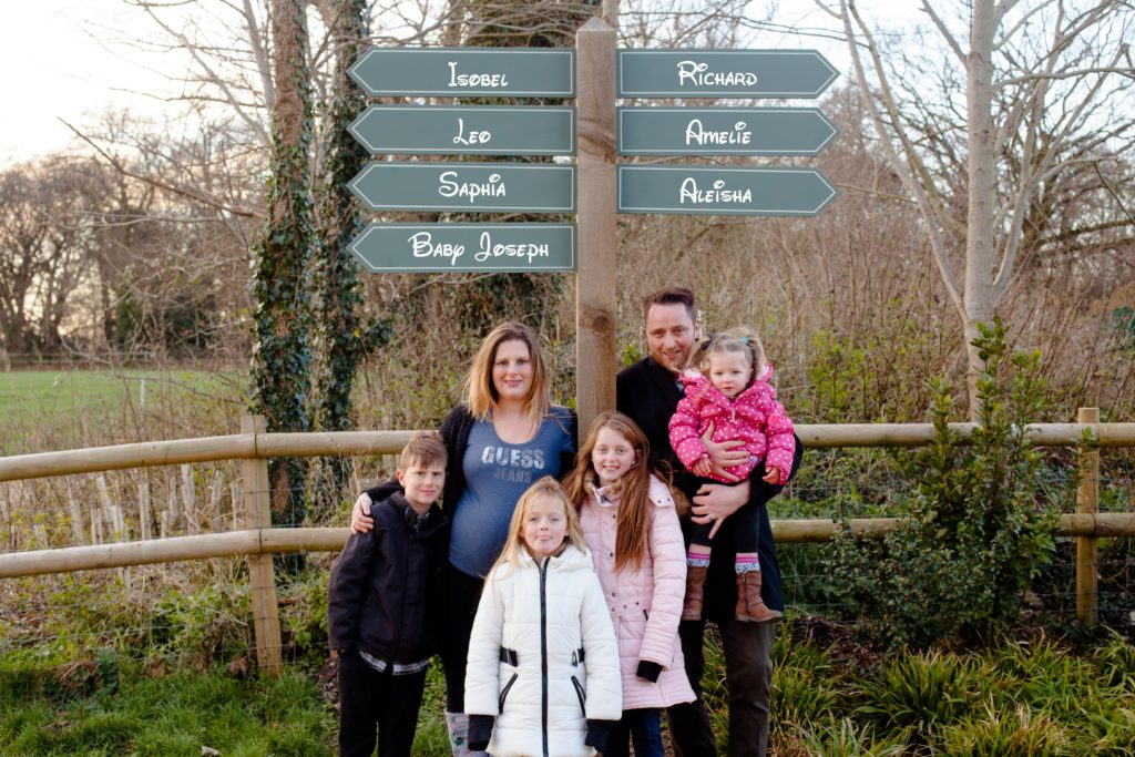 Family signpost with edited names